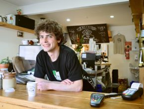 young man, cafe, work