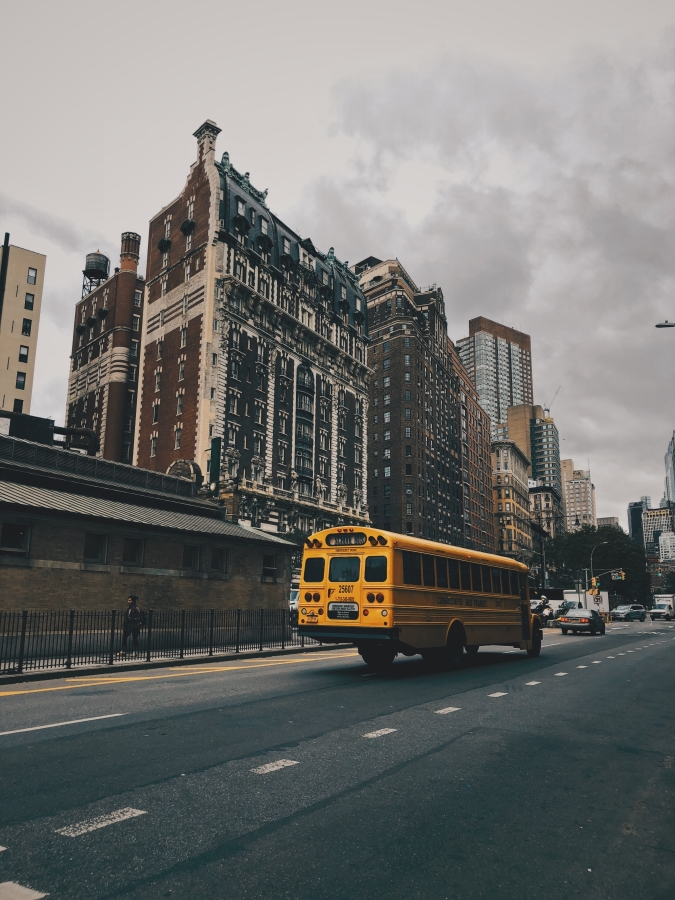 Large building and school bus