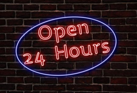 Neon 24 hour sign